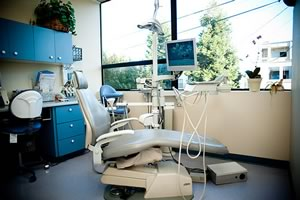 comfortable dental patient care room with a view